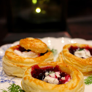 Goat Cheese, Dill And Blackberry Jam Vol Au Vents.
