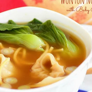Wonton Noodle Soup with Baby Bok Choy.