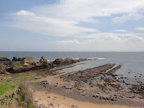 Photo: The coast near St Monans (Bass Rock and Berwick Law in the background)