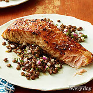 Mustard and Molasses Glazed Salmon with Lentil Salad.