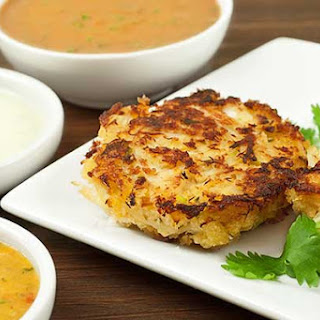 Pan-Asian Crab Cakes With Three Dipping Sauces.