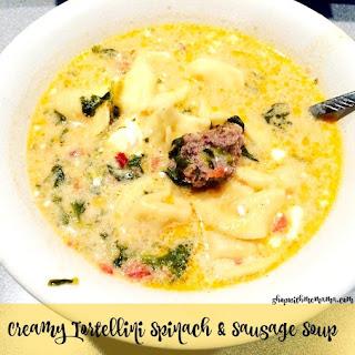 Creamy Tortellini Spinach & Sausage Soup.