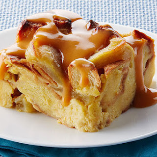 Slow-Cooker Apple Bread Pudding with Warm Butterscotch Sauce.
