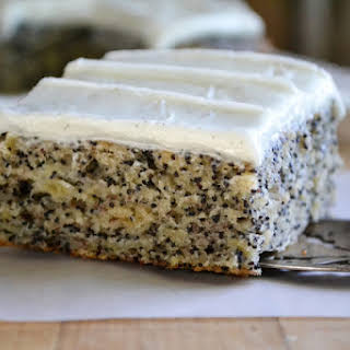 Banana Poppy Seed Cake with Vanilla Bean Frosting.