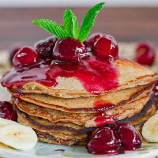 Banana Oatmeal Pancakes with Fresh Cherry Sauce.