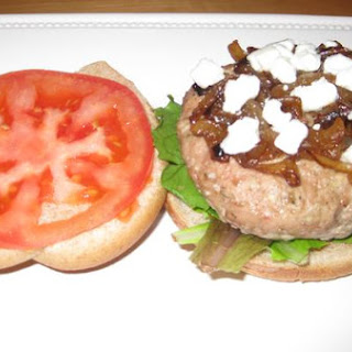 Turkey Burger With Apple, Goat Cheese, and Caramelized Onion