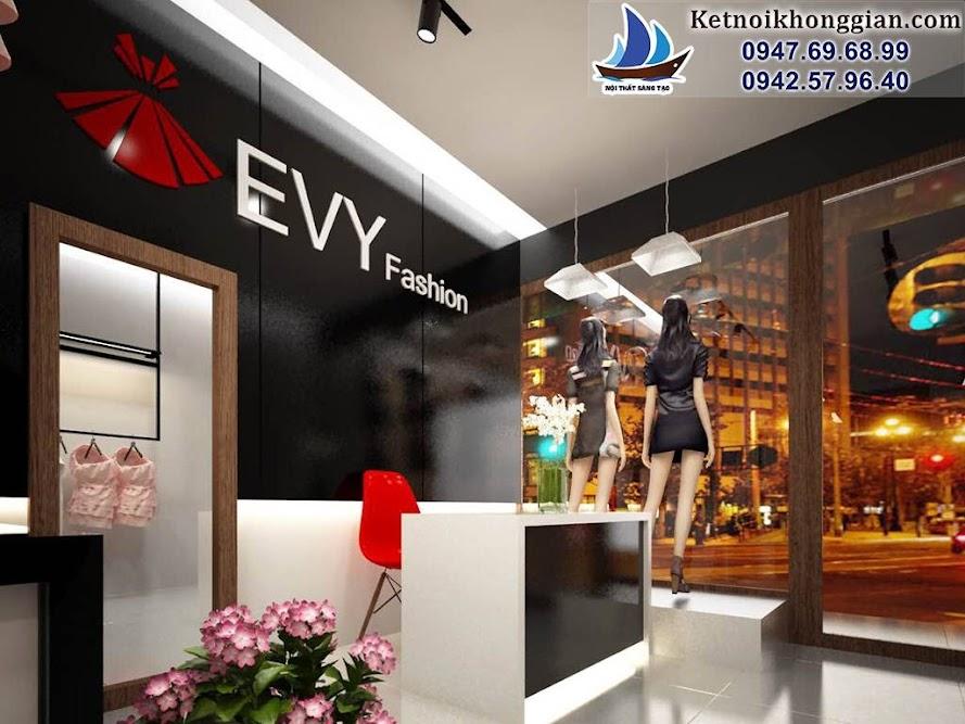 thiết kế shop thời trang công sở hiện đại với tông màu tương phản