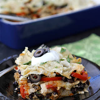 Mexican Chicken Taco Casserole with Olives, Peppers & Queso Fresco Cheese.