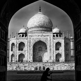 sweeper of the taj by Paul Cowell - Buildings & Architecture Places of Worship ( pwcbuliding, silhouette, taj mahal, india, sweeper )