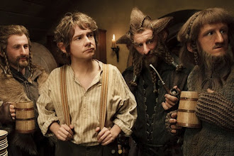 Photo: Fili, Bilbo, Nori and Ori at Bag End. Plates just at the edge of picture!