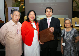 Photo: 22 August 2013 - General Monthly Meeting of FINEX. Hiroshi Yaguchi receives a token of appreciation from FINEX-Philippines presented by Victor Lim, Judith Lopez and Conchita Manabat