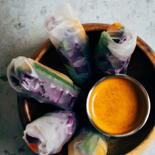 Rainbow Spring Rolls w/ Spicy Sesame Sauce