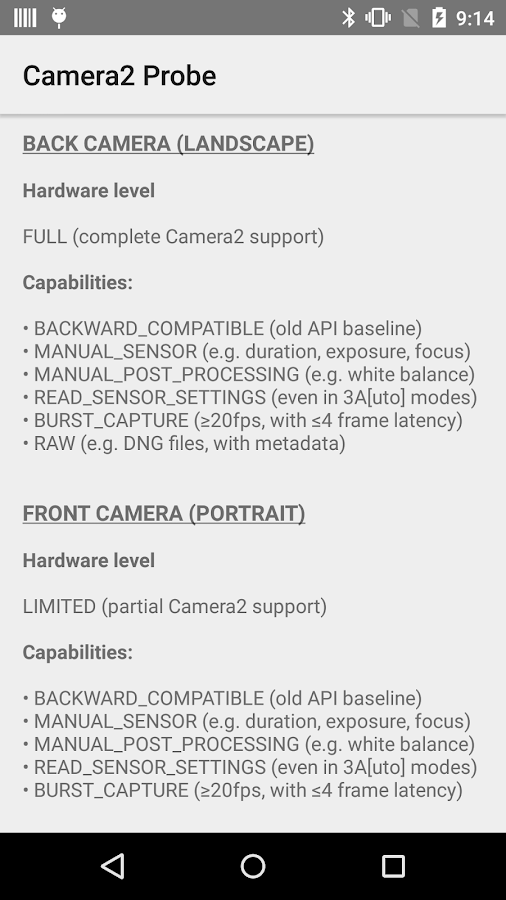Camera2 Probe for Android 5.0+- screenshot