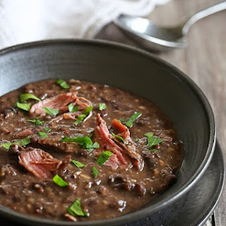 Pressure Cooker Smoked Turkey Black Bean Soup.