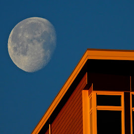 Moonset at Sunrise, Arbutus Ridge by Campbell McCubbin - Buildings & Architecture Other Exteriors ( moon, sunrise, dawn, building, morning )
