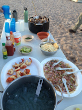 Photo: Special dinner includes Margaritas, fresh caught lobster tails, scallops & steamed clams - So good.