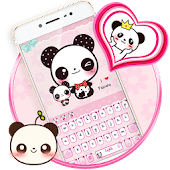 Pink Cute Panda Keyboard Theme