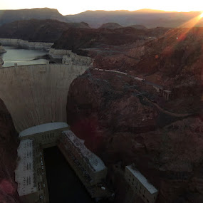 Sunrise at the Hoover Dam by Michele Whitlow - Landscapes Sunsets & Sunrises ( colorado river, hoover dam, nevada, arizona, sunrise )