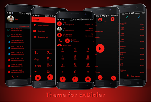 Dialer theme Flat Black Red for PC