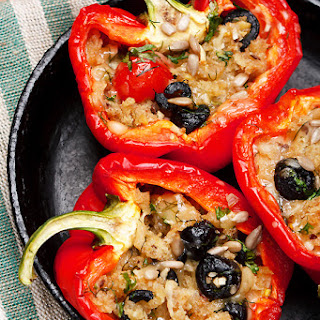 Italian-Style Stuffed Peppers with Olives and Sunflower Seeds