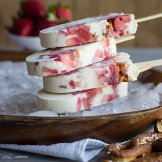 Strawberry Pretzel Popsicles.