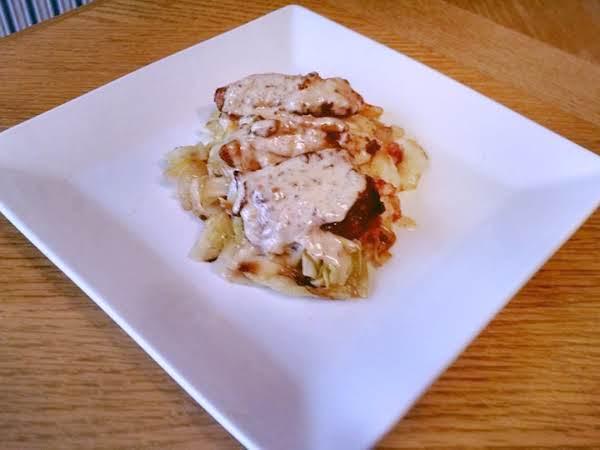 Dijon Chicken Over Brown Butter Braised Cabbage