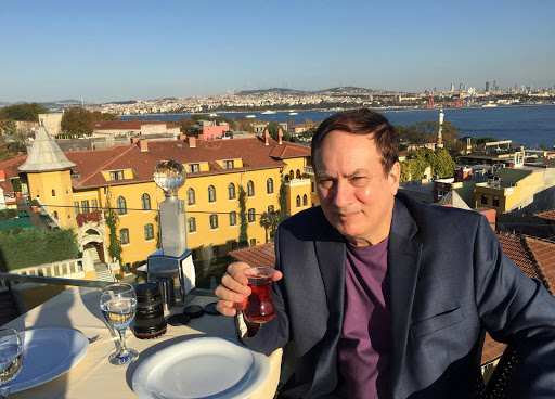Seven-Hills-restaurant-in-Old-Istanbul.jpg - That's me having tea at the Seven Hills restaurant in Old Istanbul overlooking the Bosphorus. Asia is just across the strait.