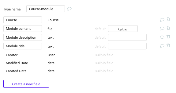 Bubble no code Udemy clone tutorial with course module data type and fields