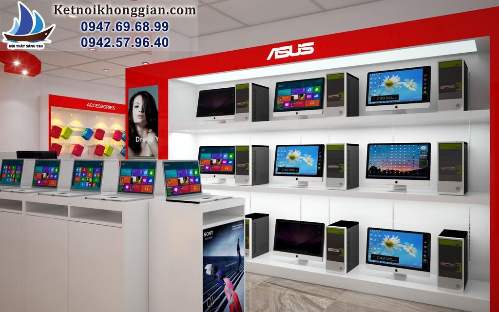 thiết kế cửa hàng máy tính phong cách chuyên nghiệp
