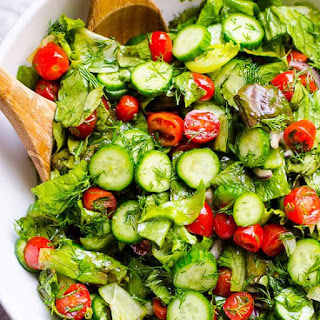 Lettuce Salad with Tomato and Cucumber Recipe