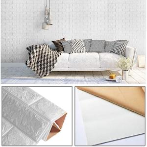 Set 5 x Placa de tapet adeziv caramizi albe, 77x70 cm