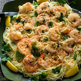 Easy Shrimp Scampi A Classic Italian-American Recipe Over Pasta.