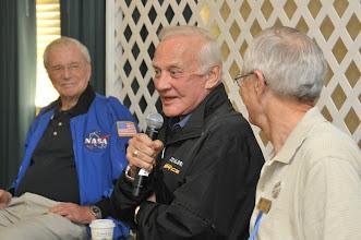 Photo: Left to Right: Original Seven Astronaut Scott Carpenter of Mercury-Atlas 7. Moonwalker Buzz Aldrin of Gemini 12 & Apollo 11, and Moonwalker Charlie Duke of Apollo 16