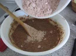 Add dry ingredients to wet ingredients. Mix just until combined.  Do not overbeat.