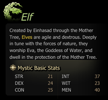 elf mystic basic stats