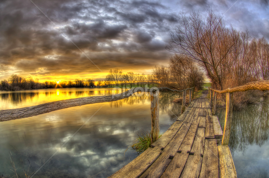 The path towards the sun by Boris Frković - Landscapes Waterscapes ( water, old, dawn, wooden, path, lake, bridge, dusk, sun, pwcpaths )