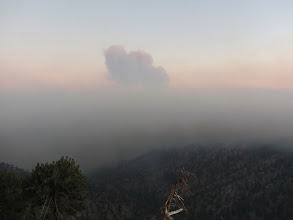 Photo: View south from the west ridge of Mount Hawkins minutes after sunset, 5 hours after the start of the Williams Fire 2012