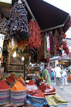 Photo: Spice Bazaar, Istabul. I bought some red pepper paste (from the one right next to the grape leaves). I used it when I got home and made the ezogelin corbasi I learned to make at the cooking class.