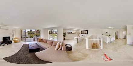 Photo: Luxury Ocean Townhouse - Upstairs Living Room/Balcony/Dining Room/Kitchen www.escapeatnobbys.com.au