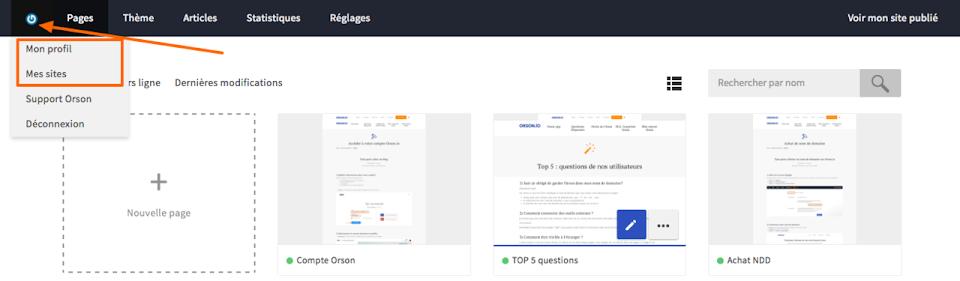 Compte client de l'application en mode SaaS Orson Io