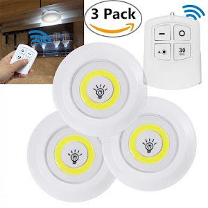 Set 3 lampi LED 3W COB cu telecomanda