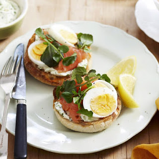 Salmon English Muffins with Cream Cheese and Cress