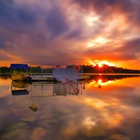 Lower Pierce Sunset by Ram Suson - Landscapes Sunsets & Sunrises ( lower pierce, naturescape, reservoir, reflection, waterscape, lower pierce reservoir, sunset, sunset reflection, lake, boat, singapore )