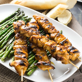 Spicy Chicken Skewers With Roasted Asparagus.