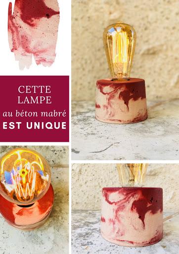 lampe béton marbré lie de vin