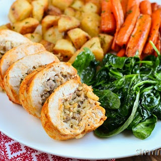 Bulgur Wheat, Onion, Sage and Sausage Stuffed Chicken.
