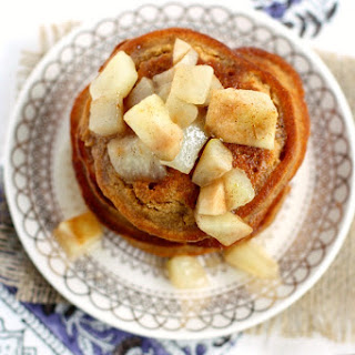 Gingerbread Pancakes with Warm Pear Sauce.