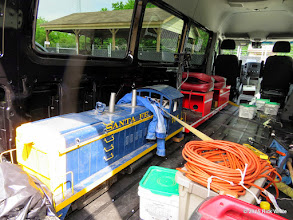Photo: Rick White's NW2 and engineer's car in his new cargo van.    HALS Work Day 2015-0411 RPW
