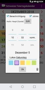 Schweizer Kalender 2018 Gesetzliche Feiertage - náhled