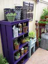 Photo: More old pressed tin from ceiling tiles. Shelves work for storage, plants, or serve-yourself party supplies.